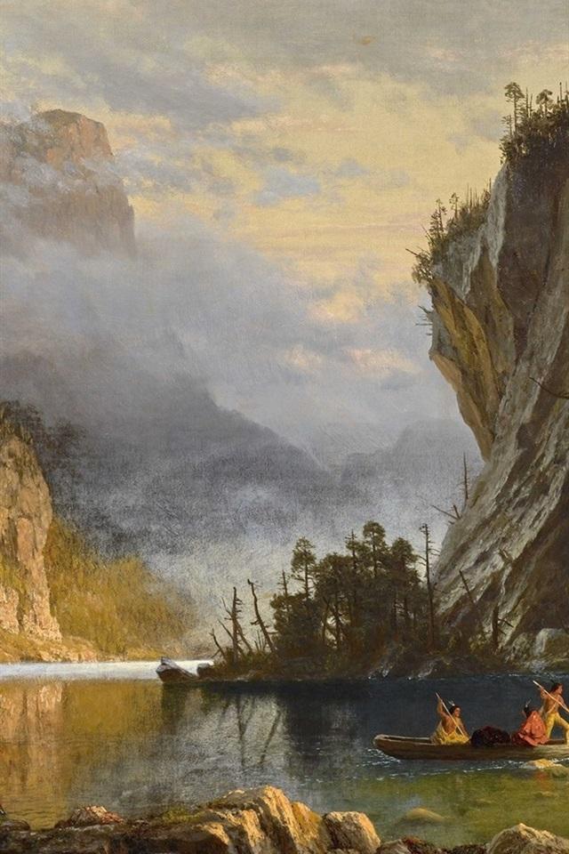 Indians Spear Fishing Albert Bierstadt Art Painting