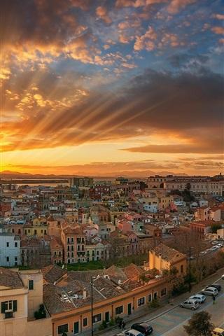 iPhone Wallpaper Italy, Cagliari, city, sea, coast, street, sun rays, clouds, dawn