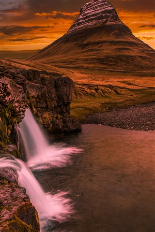 iPhone Wallpaper Kirkjufell, Iceland, waterfall, mountain, clouds, sunset