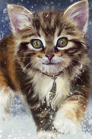iPhone Wallpaper Kitten in the snow, watercolors