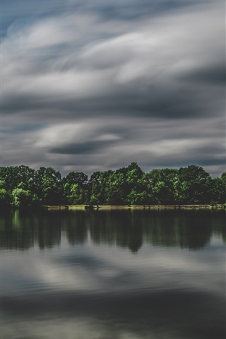 iPhone Wallpaper Lake, trees, clouds, dusk