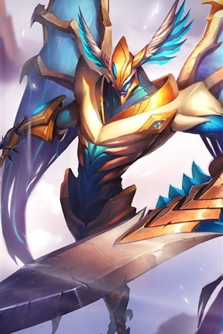 iPhone Wallpaper League of Legends, angel, warrior
