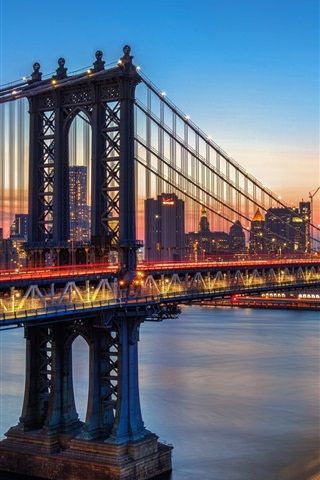 iPhone Wallpaper Manhattan bridge, New York, river, city, night, lights, USA