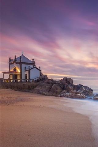 iPhone Wallpaper Miramar, Portugal, house, sea, sunset
