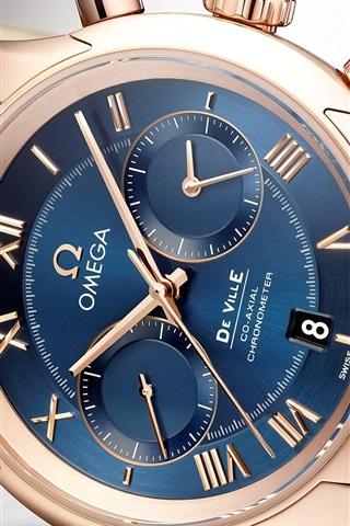 iPhone Wallpaper Omega watch, blue