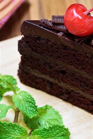 iPhone Wallpaper One piece chocolate cake, cherry, mint