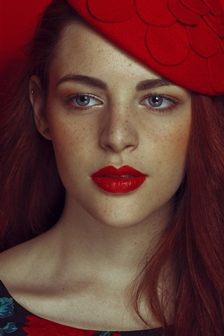 iPhone Wallpaper Red hair girl, lipstick, freckles