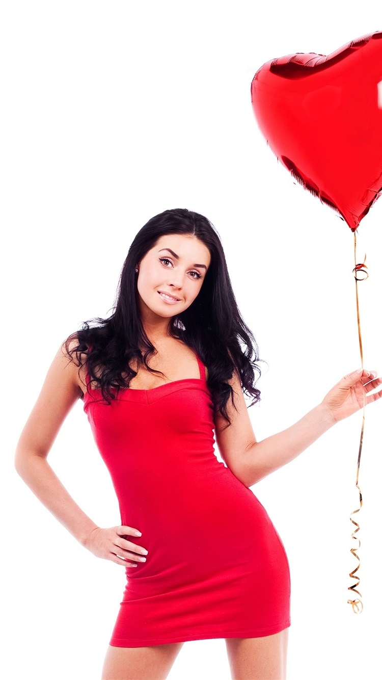 Red Skirt Girl And Red Balloon White Background 750x1334