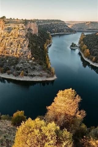 iPhone Wallpaper River, mountains, bushes, autumn