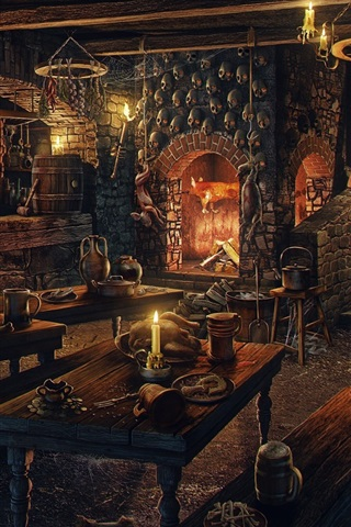 iPhone Wallpaper Room, fireplace, candles, skulls, wood table, art picture