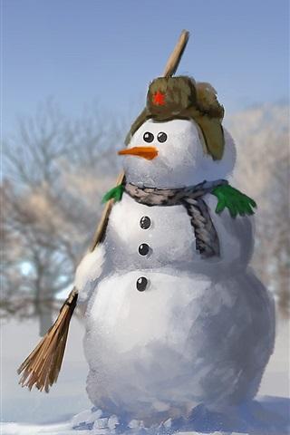 iPhone Wallpaper Snowman, soldier, snow, watercolors