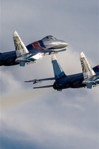 iPhone Wallpaper Su-30 SM fighters, two aircrafts