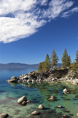 iPhone Wallpaper Tahoe lake, trees, stones, USA