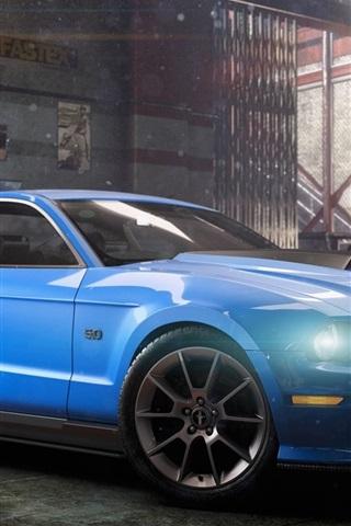 iPhone Papéis de Parede The Crew, Ford Mustang carro azul