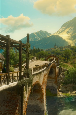 iPhone Wallpaper The Witcher 3: Wild Hunt, bridge, trees, green, art picture