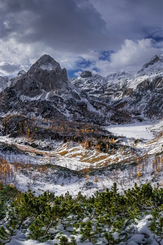 iPhone Wallpaper Triglav mountains, Alps, trees, snow, clouds, winter