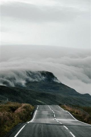 iPhone Hintergrundbilder Vereinigtes Königreich, Schottland, Straße, Nebel, Morgen
