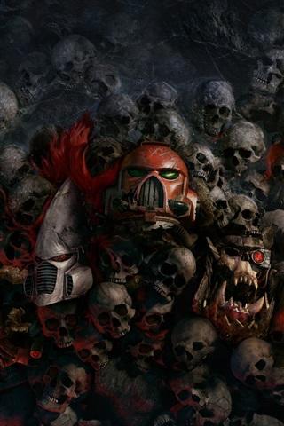 iPhone Wallpaper Warhammer 40000: Dawn of War, skulls, games