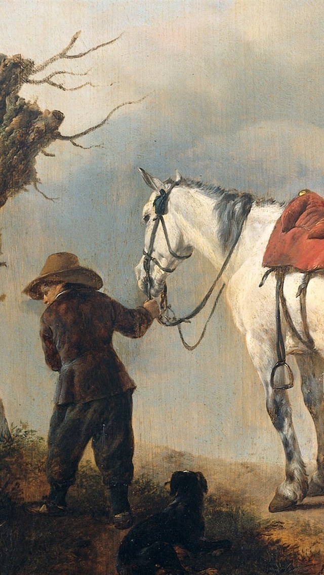 White Horse Oil Painting 640x1136 Iphone 5 5s 5c Se Wallpaper Background Picture Image