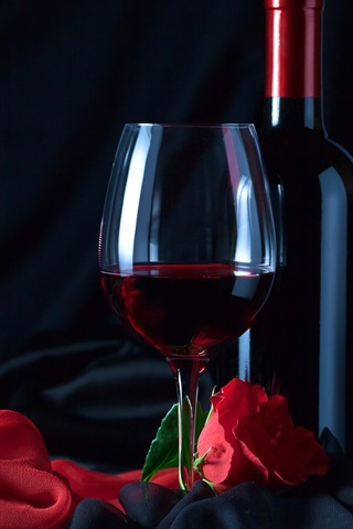 iPhone Wallpaper Wine, bottle, glass cup, red rose, cloth