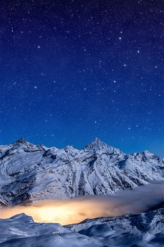 iPhone Wallpaper Winter, mountains, clouds, night, starry, snow