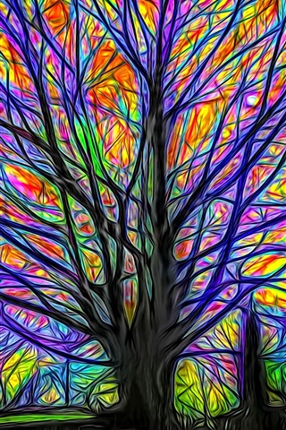 iPhone Wallpaper Abstract tree, colorful lines, glow