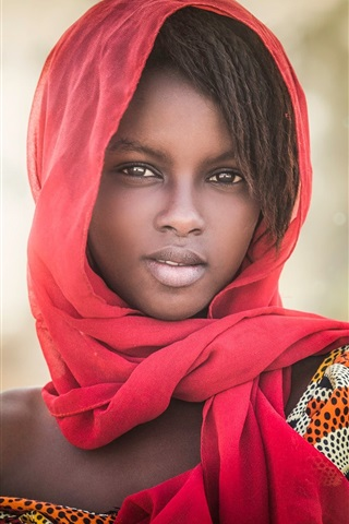 iPhone Wallpaper African girl, portrait, scarf