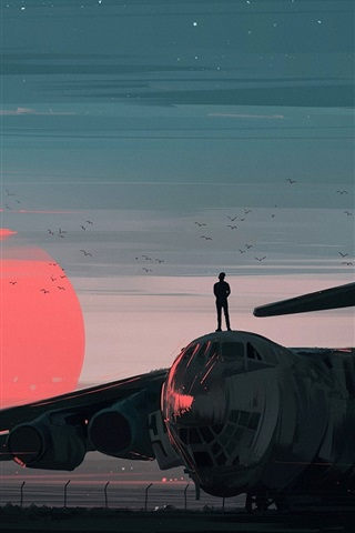 iPhone Wallpaper Art painting, dusk, airport, plane, birds, people, sun