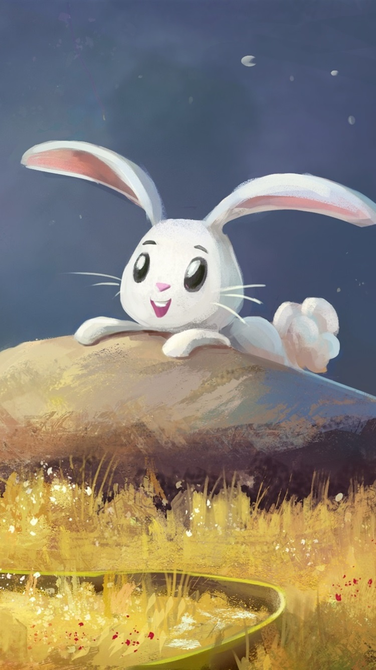 Wallpaper Art Painting Happy White Bunny Grass Butterfly