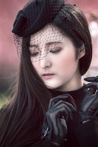 iPhone Обои Азиатская девушка, черное платье, перчатки, вуаль