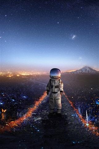 iPhone Wallpaper Astronaut, baby, space, creative