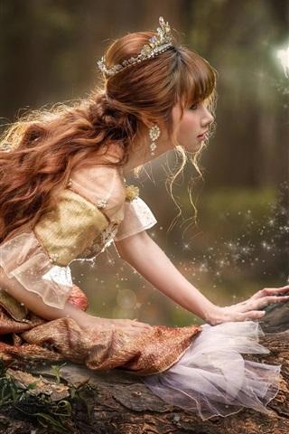 iPhone Papéis de Parede Menina bonita, princesa, coroa, elfo