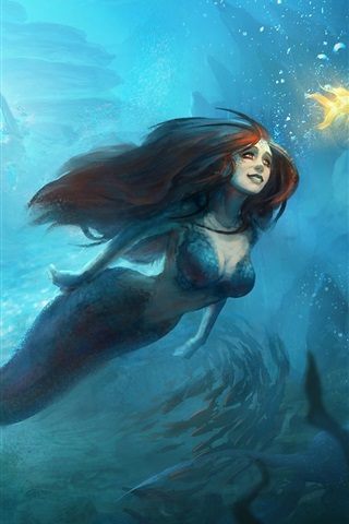 iPhone Wallpaper Beautiful mermaid, underwater, goldfish, art painting