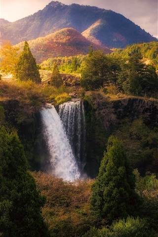 iPhone Wallpaper Beautiful nature landscape, waterfall, trees, mountains, autumn