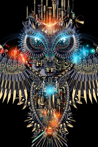 iPhone Wallpaper Beautiful owl, mechanism style, creative