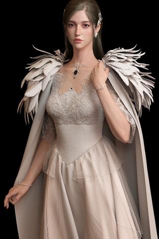 iPhone Wallpaper Beautiful princess, angel, wings, black background
