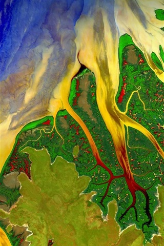 iPhone Wallpaper Beautiful satellite view, Western Australia, river