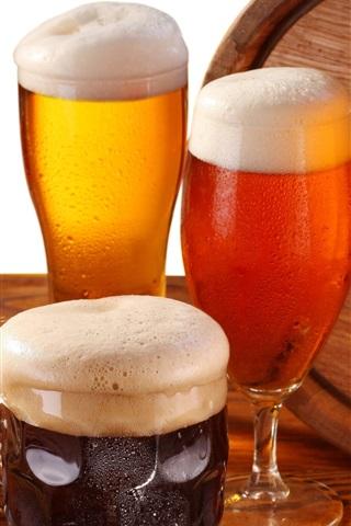 iPhone Wallpaper Beer, glass cups, foam, barrel