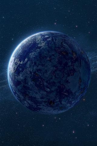 iPhone Wallpaper Blue Earth, the milky way, stars, digital universe