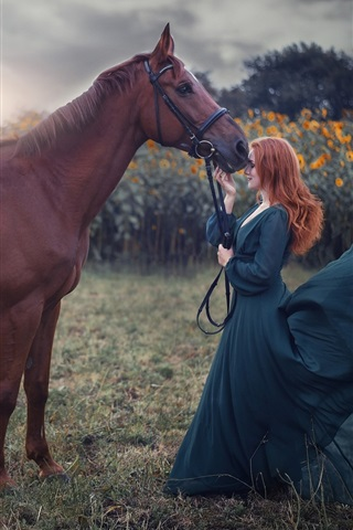 iPhone Wallpaper Blue skirt girl and brown horse, wind