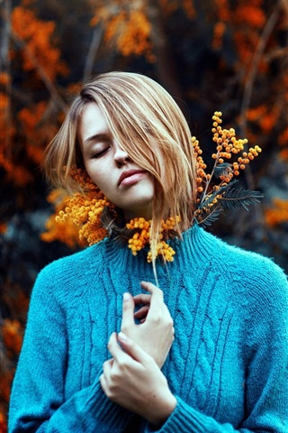 iPhone Wallpaper Blue sweater girl, sadness, flowers