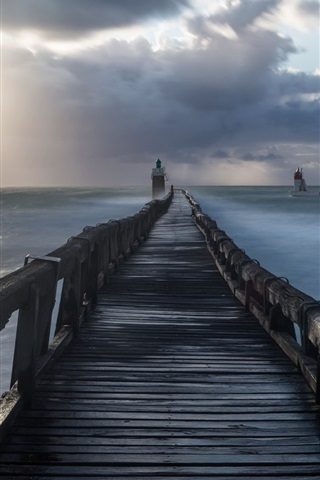 iPhone Wallpaper Bridge, lighthouse, sea, morning, clouds