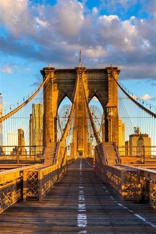 iPhone Wallpaper Brooklyn bridge, New York, USA