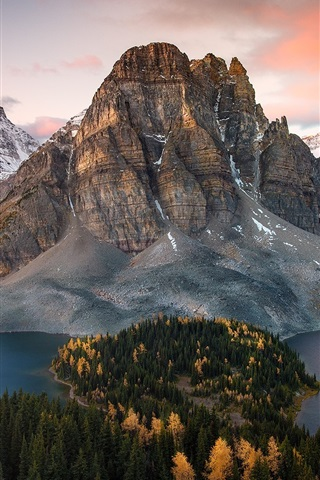 iPhone Wallpaper Canada, mountains, lake, forest, autumn