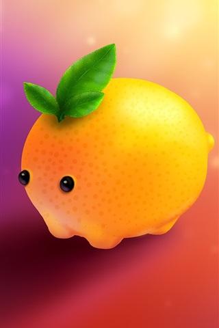 iPhone Wallpaper Cartoon lemon, pet, ice cubes, creative design