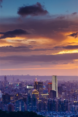 iPhone Wallpaper City night, Taipei, skyscrapers, clouds, sunset, Taiwan