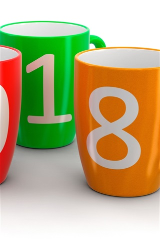 iPhone Wallpaper Colorful cups, New Year 2018, white background