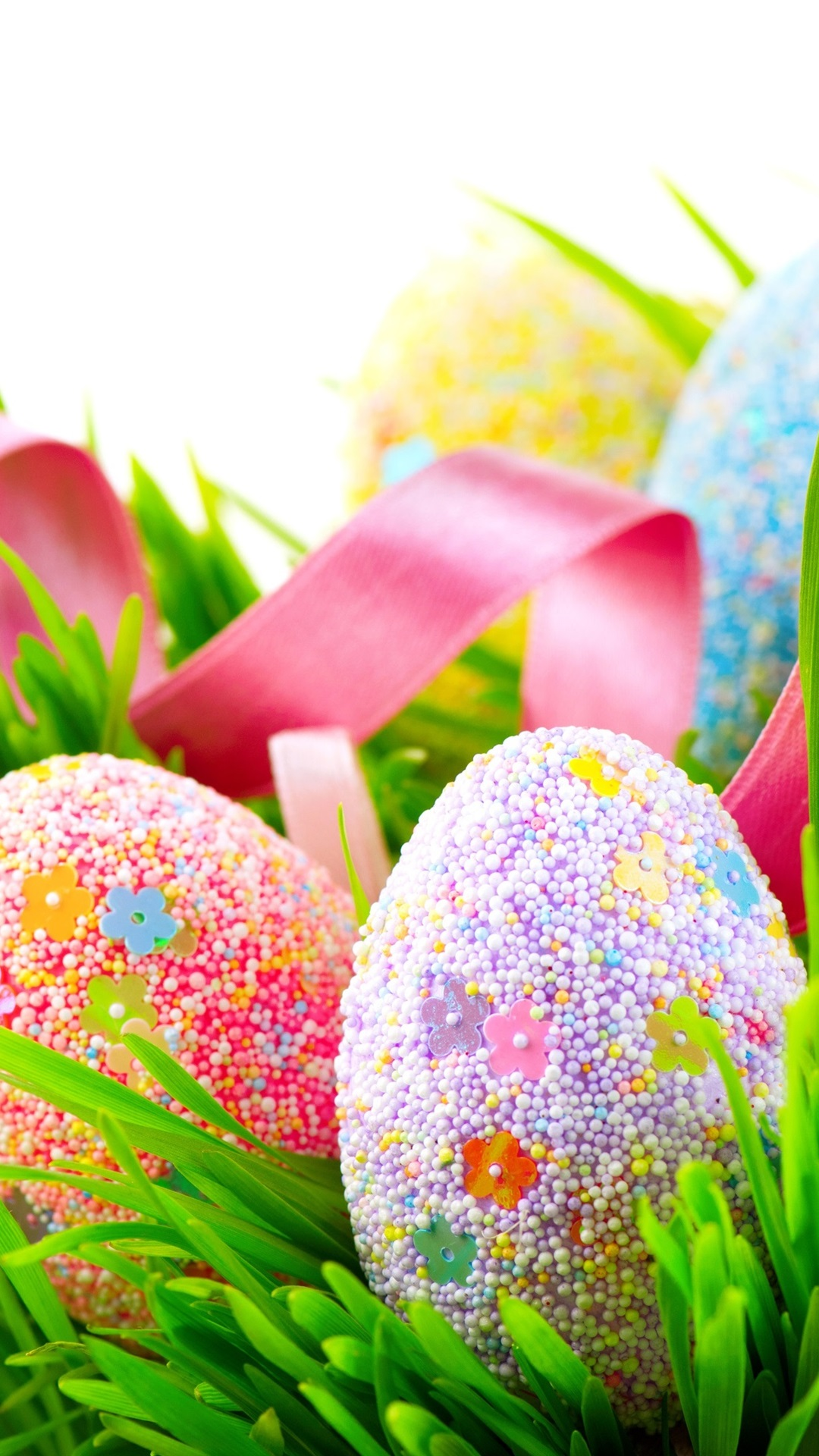 Colorful Eggs Many Balls Covered Grass Spring Easter 1080x1920