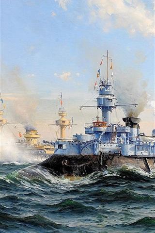 iPhone Wallpaper Cruiser, Navy, sea, waves, oil painting