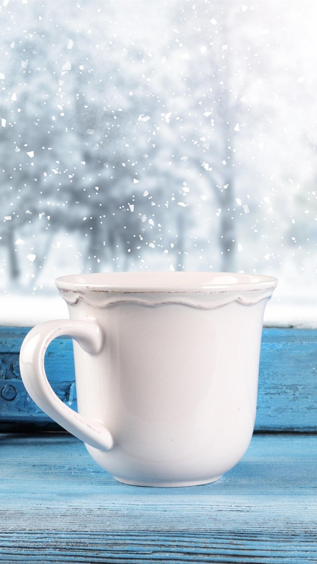 カップ 窓 雪 冬 1080x1920 Iphone 8 7 6 6s Plus 壁紙 背景 画像